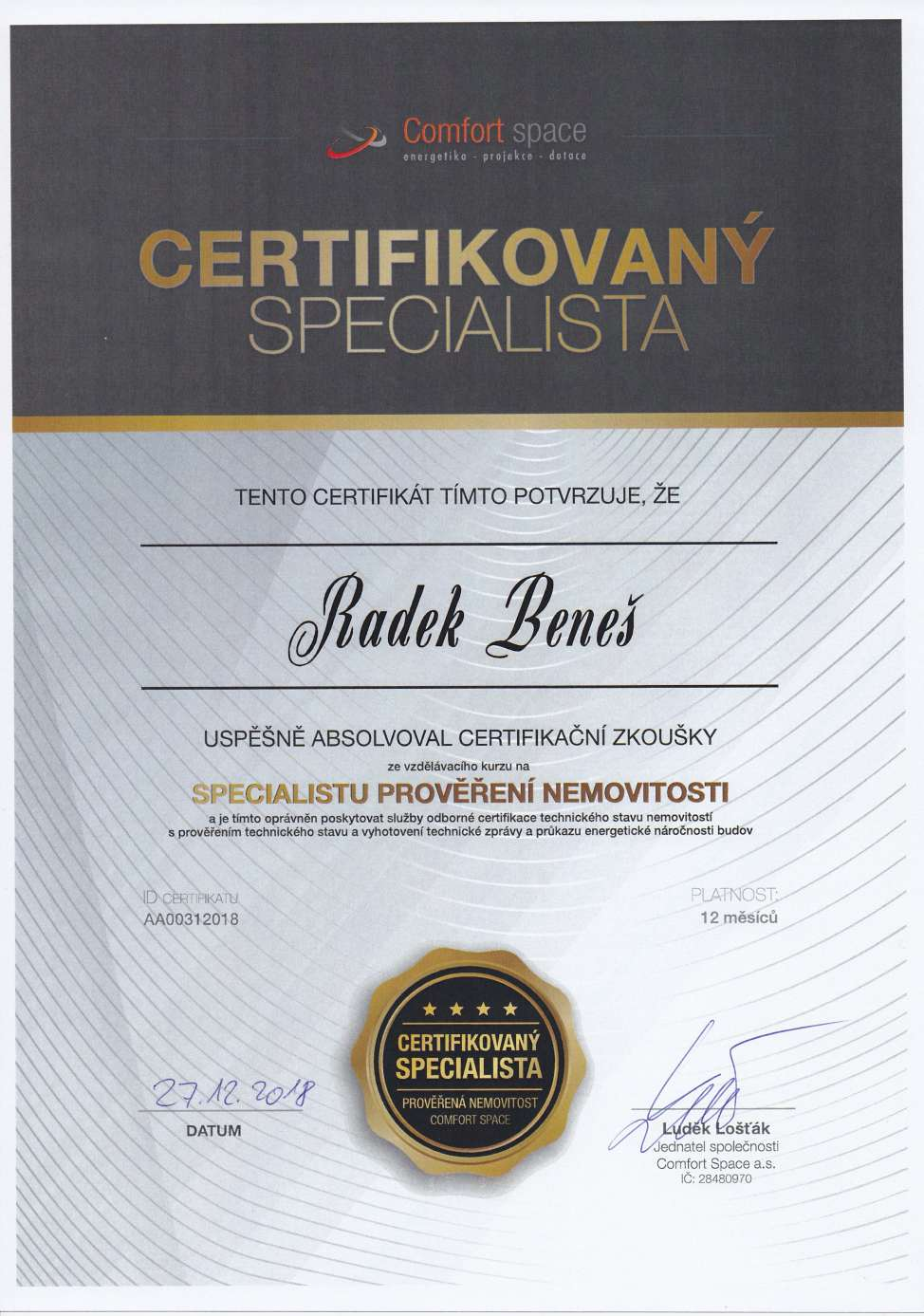 Certifikát prověřená nemovitost