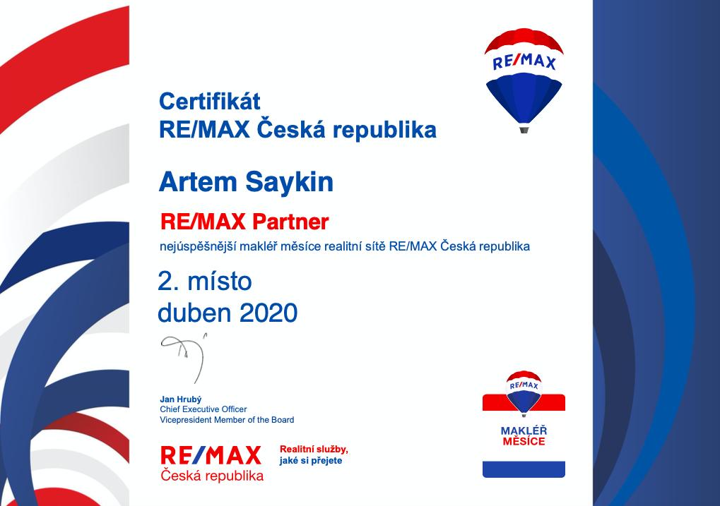 2. nejúspěšnější makléř z celé sítě RE/MAX - 4/2020