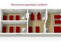 : podkroví - mezonet k apartmánům (Prodej domu v osobním vlastnictví 1080 m², Nevid)