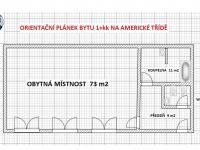 Orientační plánek - Pronájem bytu 1+kk v osobním vlastnictví 96 m², Plzeň