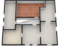 3D půdorys podkroví - Prodej domu v osobním vlastnictví 320 m², Manětín