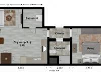Půdorys - Pronájem bytu 2+kk v osobním vlastnictví 45 m², Plzeň