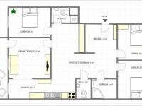 Půdorys - Pronájem bytu 4+1 v družstevním vlastnictví 105 m², Praha 9 - Černý Most