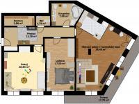 plánek - plochy (Prodej bytu 3+kk v osobním vlastnictví 117 m², Praha 5 - Radlice)