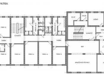 Půdorys 1. patro - Prodej penzionu 1670 m², Lučany nad Nisou