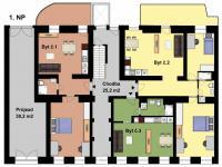 Půdorys přízemí (Prodej bytu 3+kk v osobním vlastnictví 82 m², Praha 7 - Holešovice)