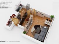 Půdorys (Prodej bytu 1+kk v osobním vlastnictví 35 m², Praha 5 - Stodůlky)