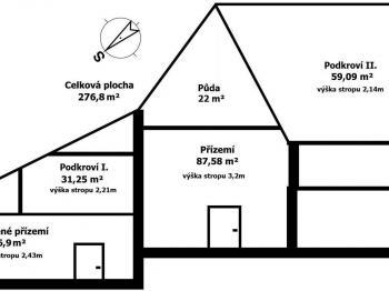 pohled na dům - řez - Prodej domu v osobním vlastnictví 254 m², Zbraslavice