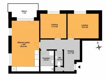 Pronájem bytu 3+kk v osobním vlastnictví 73 m², Praha 9 - Letňany