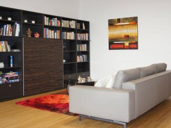 obývací pokoj - Pronájem bytu 3+kk v osobním vlastnictví 126 m², Praha 4 - Nusle