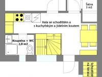1. patro - plánek - Prodej domu v osobním vlastnictví 184 m², Brno