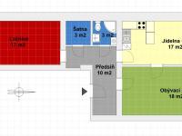 orientační schéma bytu - Prodej bytu 3+kk v osobním vlastnictví 68 m², Praha 2 - Nusle