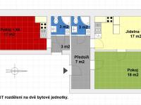 Možné rozdělení na dvě bytové jednotky (1kk a 2kk). - Prodej bytu 3+kk v osobním vlastnictví 68 m², Praha 2 - Nusle