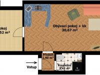 Plánek bytu 2D (Prodej bytu 2+kk v osobním vlastnictví 46 m², Beroun)