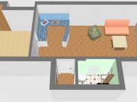 Plánek bytu 3D (Prodej bytu 2+kk v osobním vlastnictví 46 m², Beroun)
