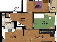 Plánek bytu (Prodej bytu 3+kk v osobním vlastnictví 66 m², Praha 9 - Černý Most)
