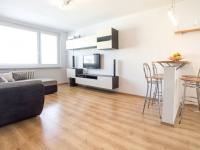 Obývací pokoj - pohled ode dveří (Prodej bytu 3+kk v osobním vlastnictví 66 m², Praha 9 - Černý Most)