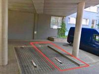 Parkovací stání, které je možno po domluvě dokoupit. (Prodej bytu 1+kk v osobním vlastnictví 35 m², Praha 9 - Letňany)