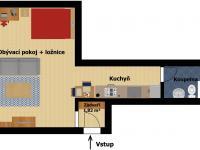 Plánek bytu_2D (Prodej bytu 1+kk v osobním vlastnictví 35 m², Praha 9 - Letňany)