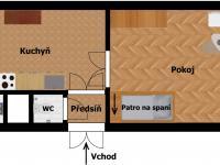 Plánek - aktuální stav (Prodej bytu 1+1 v družstevním vlastnictví 44 m², Praha 4 - Nusle)