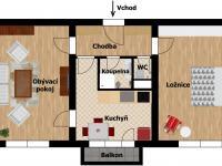Plánek - aktuální stav (Prodej bytu 2+1 v družstevním vlastnictví 52 m², Praha 9 - Hloubětín)