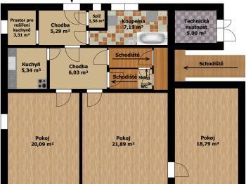 Plánek 1.podlaží - Prodej domu v osobním vlastnictví 207 m², Ondřejov