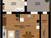 Plánek přízemí - Prodej domu v osobním vlastnictví 184 m², Kladno
