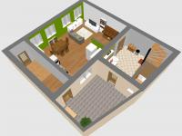 Prostorový plánek přízemí - Prodej domu v osobním vlastnictví 184 m², Kladno