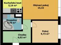 plánek bytu - Pronájem bytu 2+kk v osobním vlastnictví 41 m², Kladno