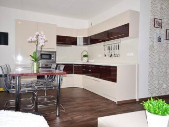 Kuchyně s obývacím pokojem - Prodej bytu 3+kk v osobním vlastnictví 68 m², Slaný