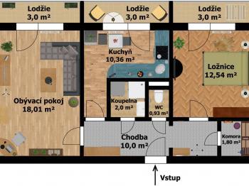 Plánek bytu - Prodej bytu 2+1 v osobním vlastnictví 52 m², Kladno