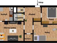 plánek bytu  - Prodej bytu 3+1 v osobním vlastnictví 69 m², Kladno
