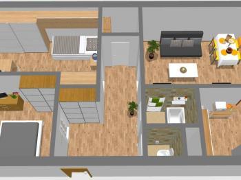 3D plánek bytu - Prodej bytu 3+1 v osobním vlastnictví 69 m², Kladno