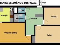 plánek bytu - možné úpravy - Prodej bytu 3+1 v osobním vlastnictví 69 m², Kladno
