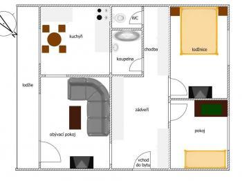 orientační plánek bytu - Prodej bytu 3+1 v osobním vlastnictví 62 m², Kladno
