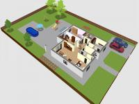 vizualizace umístění domu na pozemku (Prodej domu v osobním vlastnictví 118 m², Přestanov)