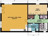 půdorys dům č.1 - Prodej domu v osobním vlastnictví 395 m², Psáry