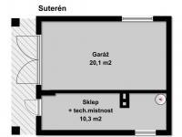 Praktická garáž a oddělené sklepní prostory (Prodej chaty / chalupy 68 m², Slatina)