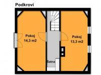 Podkroví je velmi prostorné   (Prodej chaty / chalupy 68 m², Slatina)