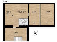 Půdorys podkrovního bytu - Prodej komerčního objektu 707 m², Suchdol nad Lužnicí