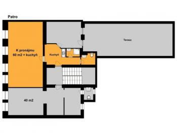 Půdorys - pronajímané prostory - Pronájem komerčního objektu 60 m², Tábor