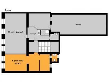 Půdorys pronajímaných prostor - Pronájem komerčního objektu 40 m², Tábor