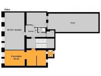 Půdorys pronajímaných prostor - Pronájem kancelářských prostor 40 m², Tábor