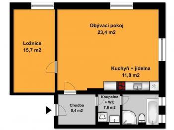 Půdorys bytu  - Pronájem bytu 2+kk v osobním vlastnictví 64 m², Opařany
