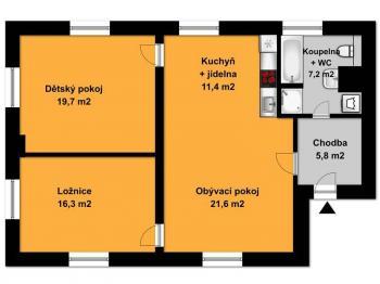 Půdorys bytu  - Pronájem bytu 3+kk v osobním vlastnictví 82 m², Opařany