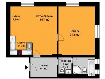 Půdorys bytu  - Pronájem bytu 2+kk v osobním vlastnictví 63 m², Opařany