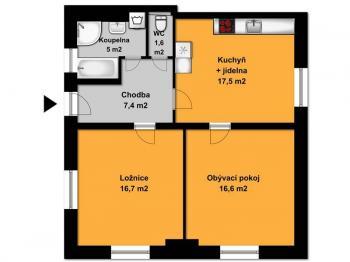 Půdorys bytu  - Pronájem bytu 2+1 v osobním vlastnictví 65 m², Opařany
