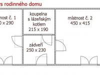 půdorys chalupy ú rodinného domu (Prodej chaty / chalupy 41 m², Pochvalov)
