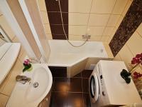 praktická koupelna s vanou a sprchovou zástěnou (Prodej bytu 3+1 v osobním vlastnictví 62 m², Žatec)