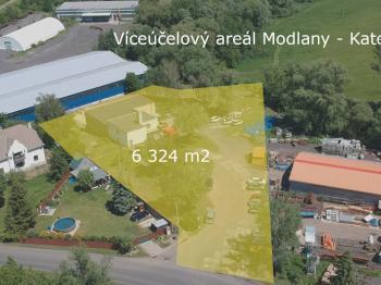 Letecký pohled na areál  - Prodej komerčního objektu 6324 m², Modlany
